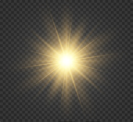 A yellow star explodes on a transparent background. Glittering particles of fairy dust. Bright Star. Transparent bright sun, bright flash. Glitter vector. Center a bright flash