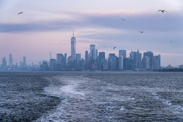 Manhattan skyline on a winter morning, New York City, USA