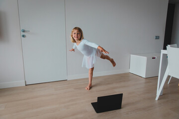 Ballet or gymastics lesson online. Remote learning for kids