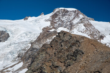 Panoramic view of the Lys glacier, on the Italian side of Monte Rosa, from Alta Luce