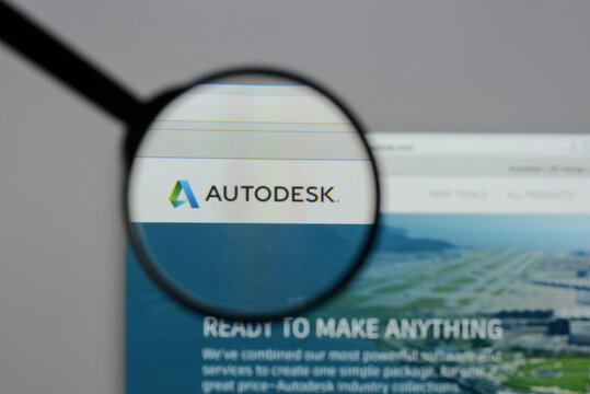 Milan, Italy - August 10, 2017: Autodesk. logo on the website homepage.