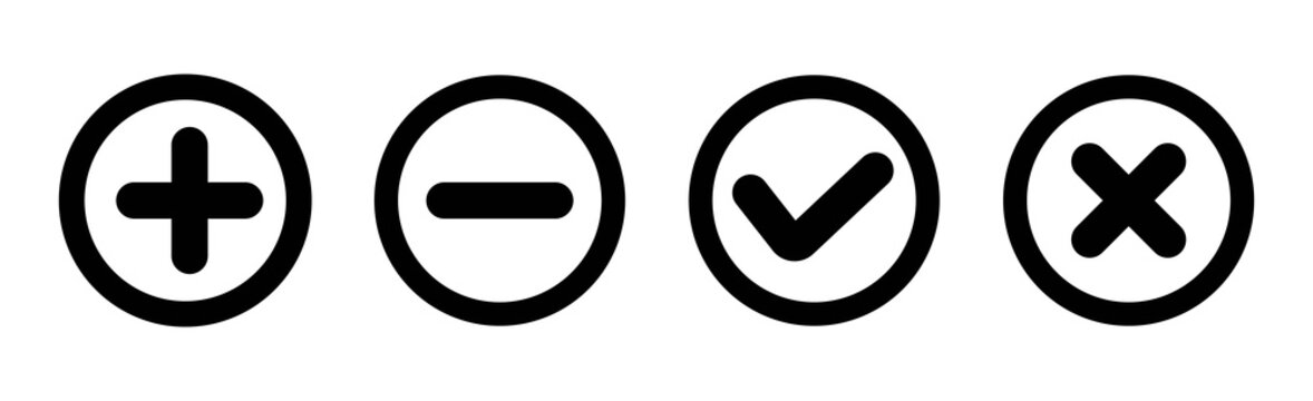 Set of plus, minus, check and cross line icons