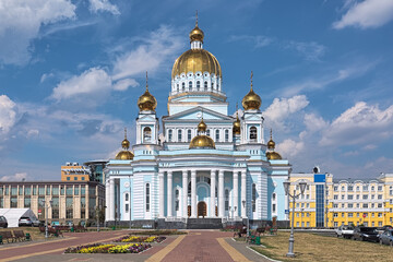 Cathedral of St. Theodore Ushakov in Saransk, Russia. It is named for Russian saint and admiral Fyodor Ushakov. Text above the entrance reads: Cathedral of the Holy Righteous Warrior Theodore Ushakov.