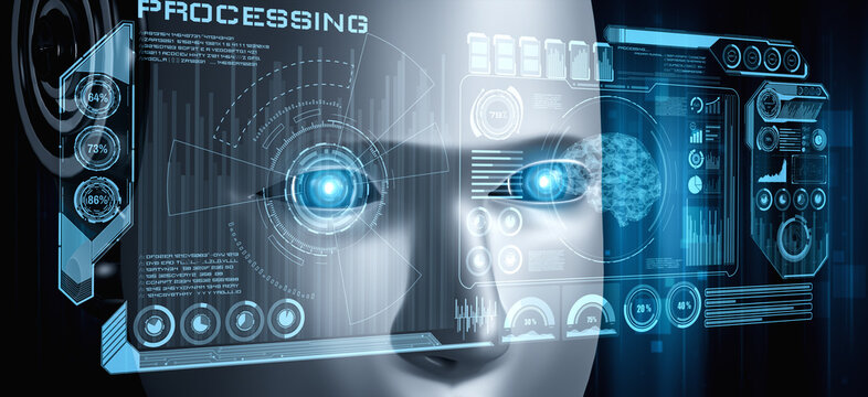 Robot humanoid face close up with graphic concept of big data analytic by AI thinking brain, artificial intelligence and machine learning process for the 4th fourth industrial revolution. 3D rendering