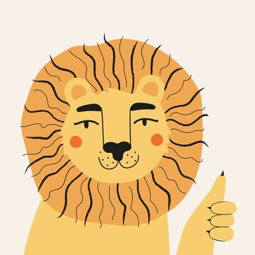 Vector illustration with funny lion showing thumbs up. Trendy flat style print design with wild animal, childish character for sticker or greeting card