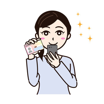 Woman smile with smartphone, personal card