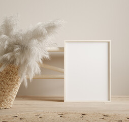 Frame mock up close up near bench and pampas grass in wicker handbag