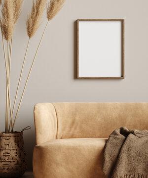 Mock up frame in home interior background, beige room with minimal decor
