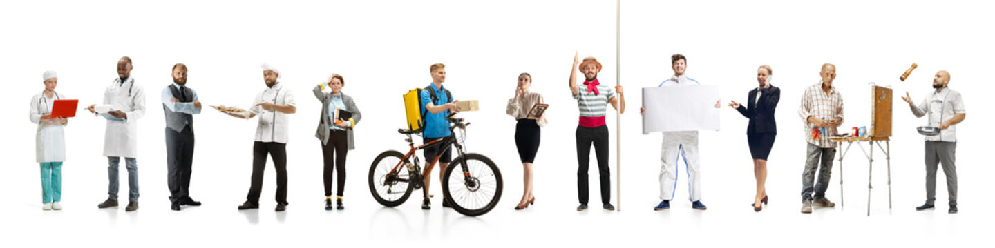 Group of people with different professions on white studio background, horizontal. Modern workers of diverse occupations, models like accountant, cook, deliveryman, teacher, doctor, painter, builder.