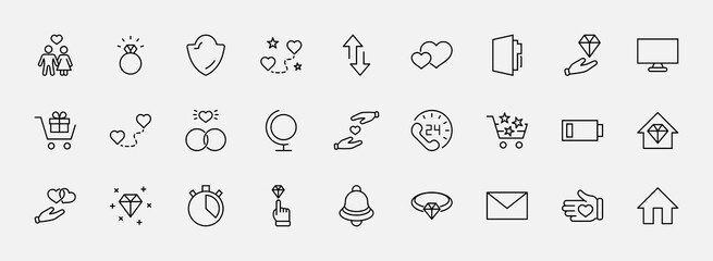 International Jeweler Day Set Line Vector Icons. Contains such Icons as Love, Heart, Hand, Family, Wedding Rings, Diamond, Jewelry store, Gift, Basket and more. Editable Stroke. 32x32 Pixels