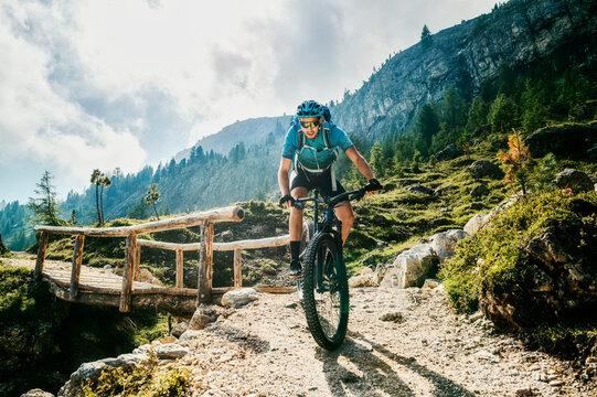 mountain biking in the mountains of the dolomites