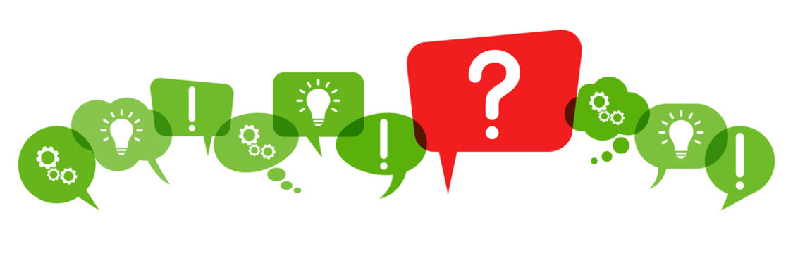 speech bubbles with red question mark
