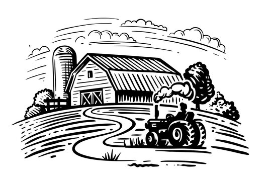 farm with trees and tractor harvesting hay