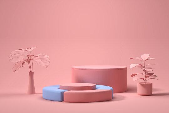 Soft Pink Product Stage Platform Present background 3d rendering.