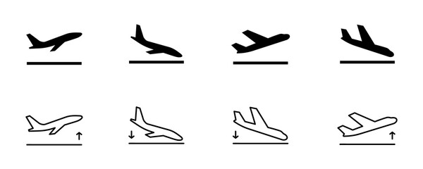 Arrivals and departure plane signs. Airport Sign. Simple icons, airplane landing and takeoff. Airport icons set: departures, arrivals. Vector illustration Aircraft or Airplane Fotobehang