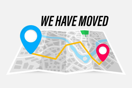 We have moved vector illustration concept. Folded paper map with indication of the moving address. Route on the map. We`re moved new office, changed address navigation location.