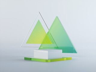 3d render, abstract geometrical background with green translucent triangular glass. Modern minimal showcase mockup. Vacant pedestal, empty podium, stage platform for commercial product displaying