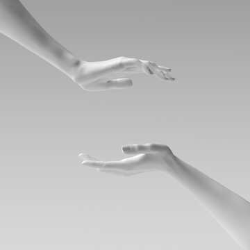 Two female hand sculptures giving, showing some product, isolated on white. Mannequin hands presenting gesture 3d illustration.