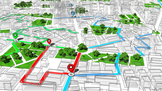 Localization, GPS Navigation, Path Finding in the City. Routing. 3D Illustration.