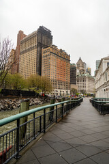 The pedestrian path on Battery Park in New York City