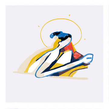 Holiness woman, Drawing with Line Art and colors shapes. Painting, Modern Semi Abstract Cubism illustration. Paint with primary Color. Contemporary art for Print and Poster.