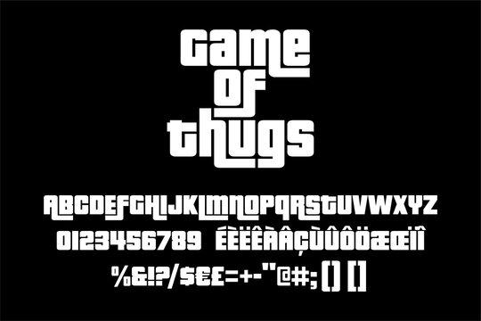 Thug alphabet. Vector typography illustration