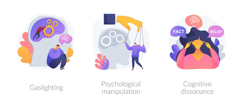 Mental abuse abstract concept vector illustration set. Gaslighting, psychological manipulation, cognitive dissonance, emotional blackmailing, social engineering, missing out abstract metaphor.