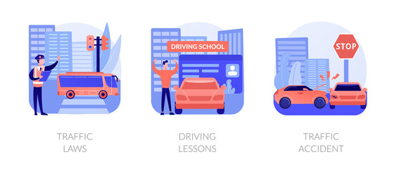 Driving license abstract concept vector illustration set. Traffic laws, driving lessons, traffic accident, road safety, violation fine, certified instructor, car crash investigation abstract metaphor.
