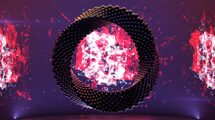Abstract futuristic technology torus 3D rendering illustration