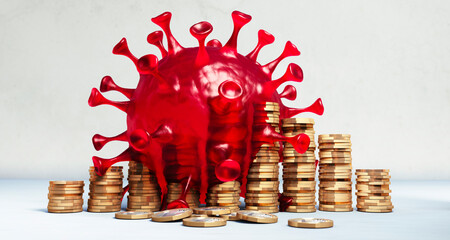 Stack of golden coins with large red coronavirus - 3D illustration