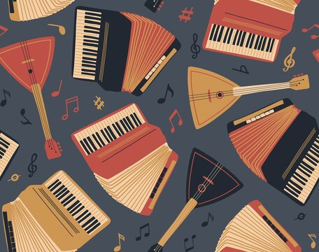 Seamless pattern with accordion,guitar, balalaika and sheet music. International Music Day. Vector musical instrument set. Freehand doodle elements