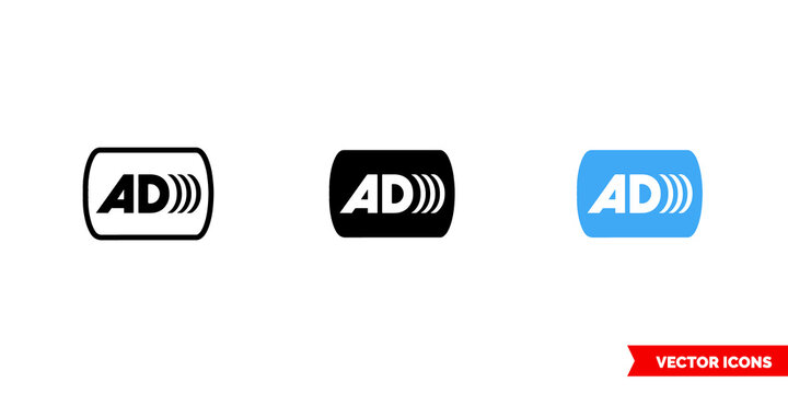 Audio description icon of 3 types color, black and white, outline. Isolated vector sign symbol.