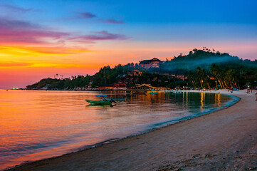 Sunset at amazing Ko Phangan island in Thailand