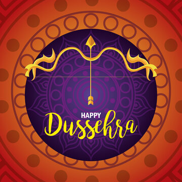 happy dussehra festival with golden arrow and arch on orange and purple background vector illustration design