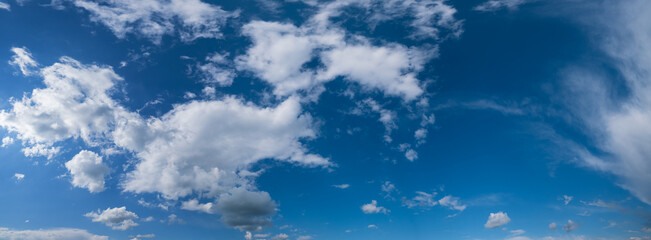 White clouds in blue sky panoramic high resolution background
