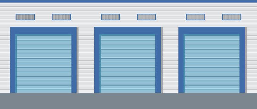 Storage unit .Warehouse building with roller doors.Flat vector.