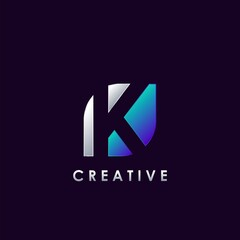 Negative Space K letter initial logo template design for brand identity