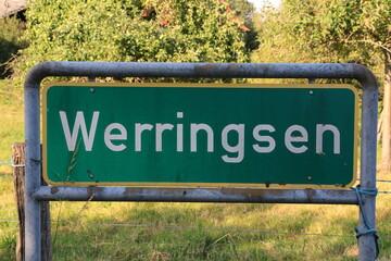 Ortseingangsschild von Werringsen, einem Ortsteil der Stadt Menden im Sauerland
