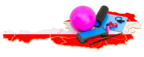 Fitness in Austria. Gym equipments on Austrian map. 3D rendering