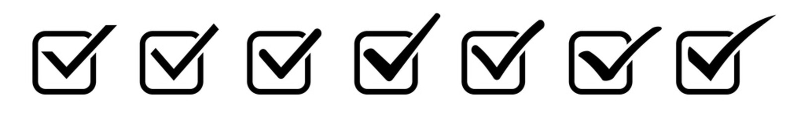 Check Mark Checkbox Square Icon Black | Checkmark Illustration | Tick Symbol | Voting Logo | Approved Sign | Isolated | Variations