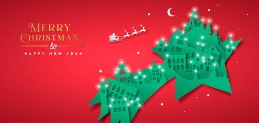 Foto auf Leinwand Vogel auf Asten Christmas New Year paper cut star winter city