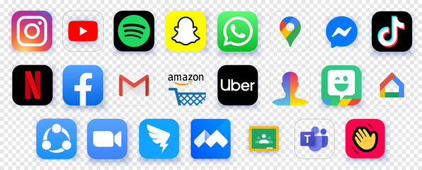 Top Free Charts apps in the world in 2020. Set icons zoom, tiktok, dingtalk, facebook, youtube, netflix, instagram, voov meeting, microsoft teams, houseparty, Spotify, Snapchat, Google Maps, Amazon