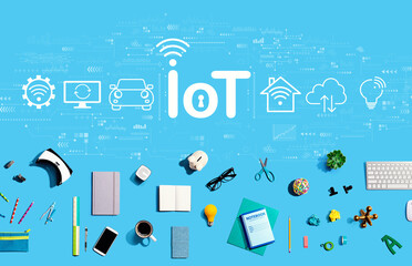 IoT theme with collection of electronic gadgets and office supplies