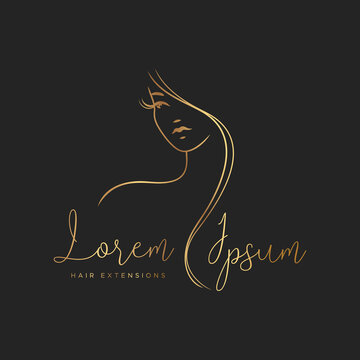Hair extensions logo with gold color. Elegant silhouette of a girl with long hair on a black background