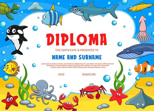 Kids diploma with underwater animals. Kindergarten vector certificate with cute cartoon octopus, starfish, squid or crab, white killer or shark. Angel fish, turtle and jelly fish, kids diploma
