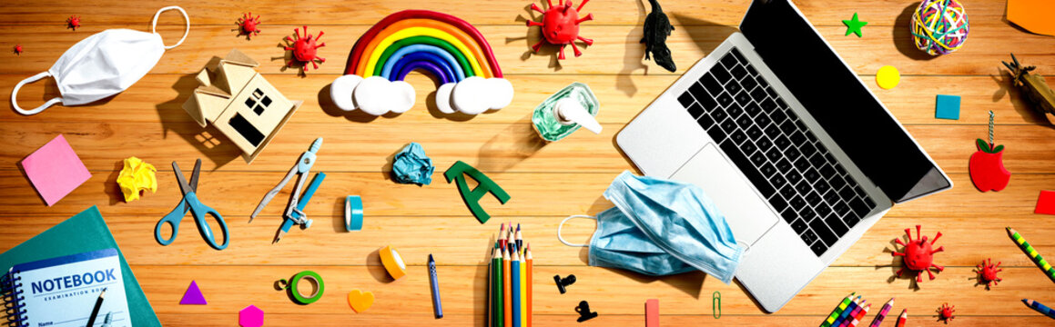 Distance learning with Covid-19 theme - flat lay