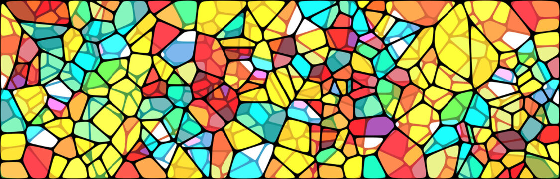 Vector Illustration of abstract vitrage background. Decorative stained glass pattern for design poster, banner, cover. Wide Vintage window texture.