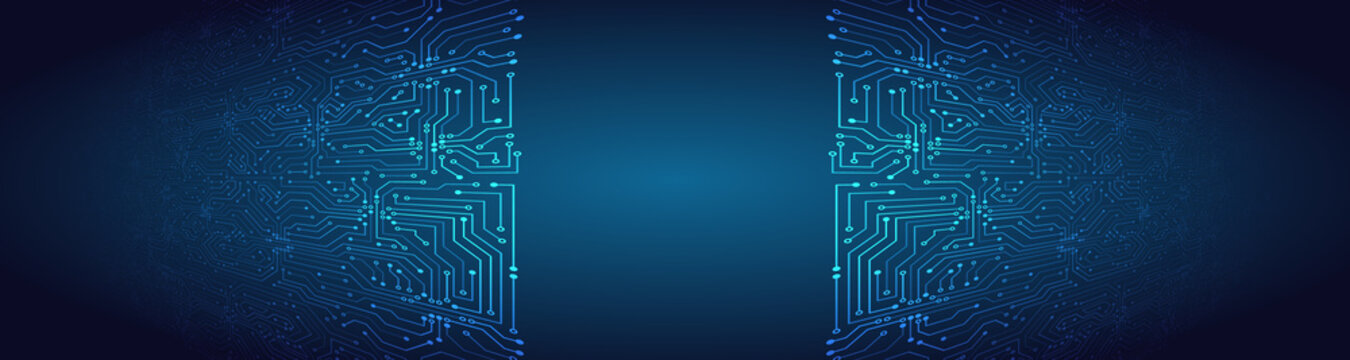 Wide perspective High-tech technology background texture. 3d Circuit board vector illustration. Microelectronics and engineering concept.