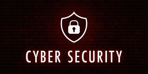 Banner Cyber Security - Shield icon on background with binary code.