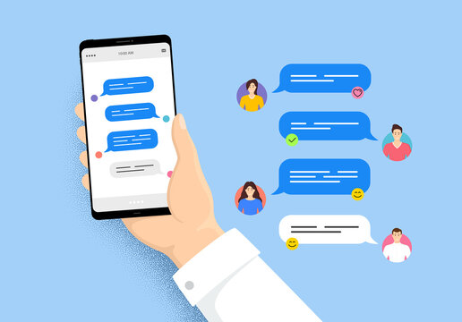 Hand holding phone with online messages. Smartphone with friends chatting. User characters of people. Speech bubbles on cellphone screen. Phone online messages. Friends conversation vector